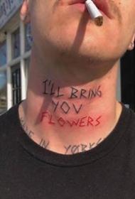 颈部脖子上的个性简约英文字母纹身图案