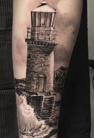 手臂上的精品欧美大黑灰纹身作品图案9张