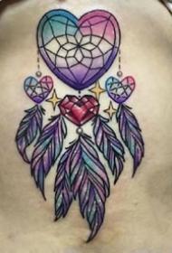 女生喜欢的彩色捕梦网纹身图案9张