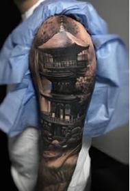 9张和风亭子古塔修建的纹身图案作品