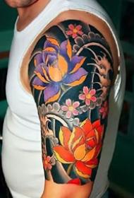 牡丹花等各种花朵的花臂纹身图案作品