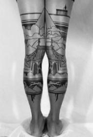 腿部前面的两只腿成对黑色风景纹身图案