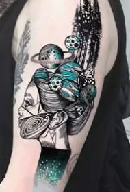 大臂和大腿精致的一组点刺线条纹身图案欣赏