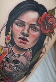 school风格的彩色欧美女郎纹身作品图片