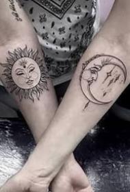 日月纹身--很适合情侣的太阳月亮的成对日月纹身图案