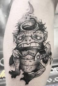 有点卡通感觉的黑灰点刺纹身作品图案