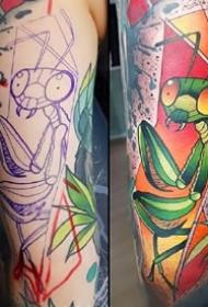 一组欧美彩色纹身的割线和成品对比图