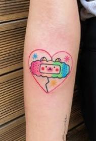 女孩子喜欢的红粉色简约小清新纹身图案