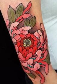 菊花纹身--9张漂亮的传统菊花纹身作品图案