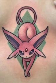 彩色的一组影视电影中的小动物卡通纹身图案