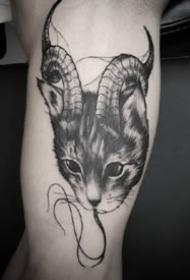 黑化了的一组9张暗黑猫咪纹身图案作品