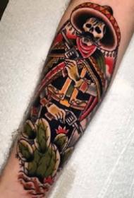 红黑色调的一组oldschool风格的小臂纹身图案
