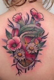 很不错的一组school花草花朵纹身作品图片