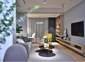 80㎡淺灰色主題簡約北歐兩居室裝修效果圖