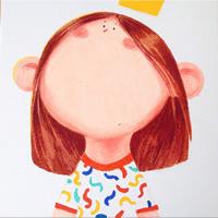 圆圆的大脸呆萌少女卡通头像