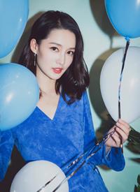 李沁生日会深色蓝色长裙性感图片