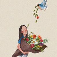 卡通女孩拿花的精致图片欣赏