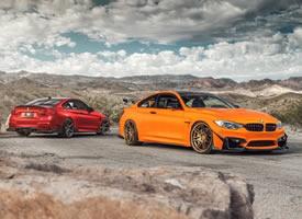 宝马M4经典红色与别样橙色图片欣赏