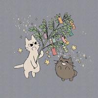 可爱的正在生气的卡通小猫头像