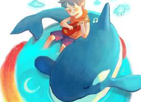 优雅自由地腾跃的卡通海豚壁纸