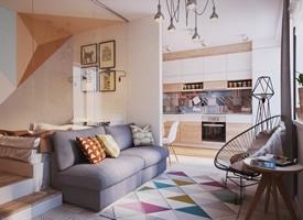 40m² 超级温馨北欧风单身公寓装修效果图