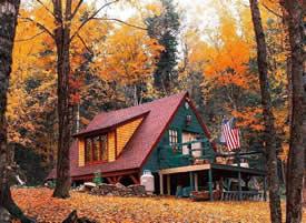 一套秋日里的林中小屋风景壁纸参考