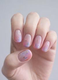 超美的粉色系少女風秋季美甲圖片