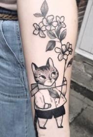 心爱的一组黑灰童趣植物单线纹身作品图案