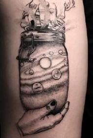 瓶子刺青:关于瓶子的一组黑色纹身创意图案