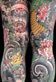 传统风格的一组大花腿纹身图案9张