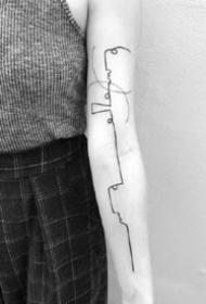 人脸线条纹身:简约抽象风格的一组线条人脸纹身图案