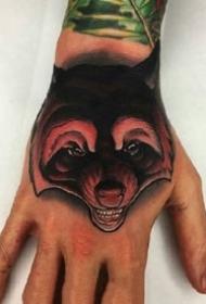 school风格的动物满手背纹身作品图案