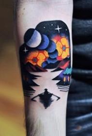 星空夢幻元素的彩色風景紋身圖案9張