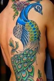 很精致的一组大幅彩色孔雀纹身图案作品