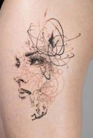 飘逸点线设计风格的一组创意纹身图案欣赏