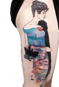 来自意大利纹身师的一组个性女郎纹身图案
