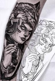 手臂上线条感很不错的黑灰欧美人像纹身图案