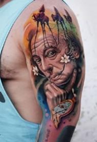 独特风格的一组暗黑人物肖像纹身图案