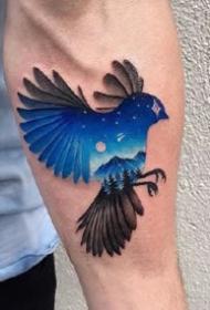 创意风格的一组梦幻彩色星空纹身图案9张