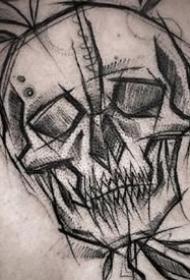 抽象風格的一組暗黑線條感的紋身圖案欣賞