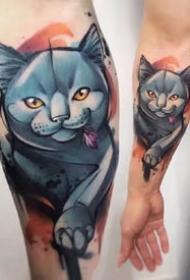 蓝色写实动物纹身:蓝色调的一组动物水彩色写实纹身图案