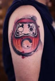 红色调的一组日式达摩蛋纹身作品图案