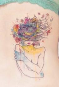 水彩色的一组女孩创意纹身图案欣赏