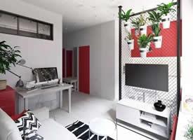 35㎡精致的单身小公寓设计装修效果图