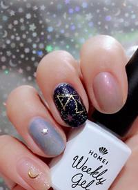 蓝色系的各种宇宙、星空、银河梦幻美甲