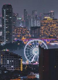 月明星稀,灯火通明,夜深人静,夜色弥漫,夜色迷人的曼谷夜景