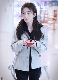 鞠婧祎北京上海机场私服 萌萌哒的女神