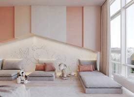 现代粉色系舒畅小居装修后果图