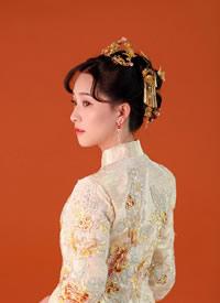 一组温婉中式的新娘发型图片参考