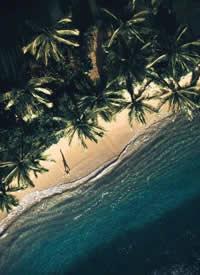 航拍夏威夷歐胡島,幽藍海水,琉璃一般